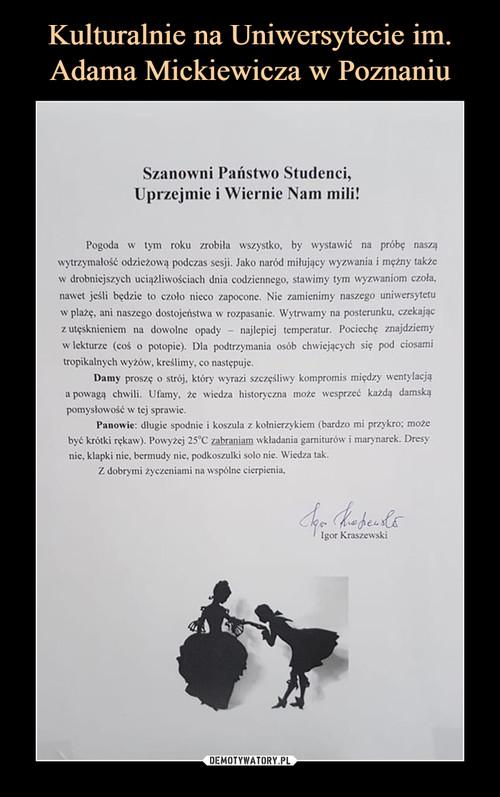Kulturalnie na Uniwersytecie im. Adama Mickiewicza w Poznaniu