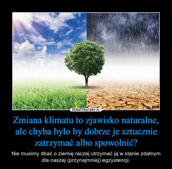 Zmiana klimatu to zjawisko naturalne, ale chyba było by dobrze je sztucznie zatrzymać albo spowolnić? – Nie musimy dbać o ziemię raczej utrzymać ją w stanie zdatnym dla naszej (przynajmniej) egzystencji.