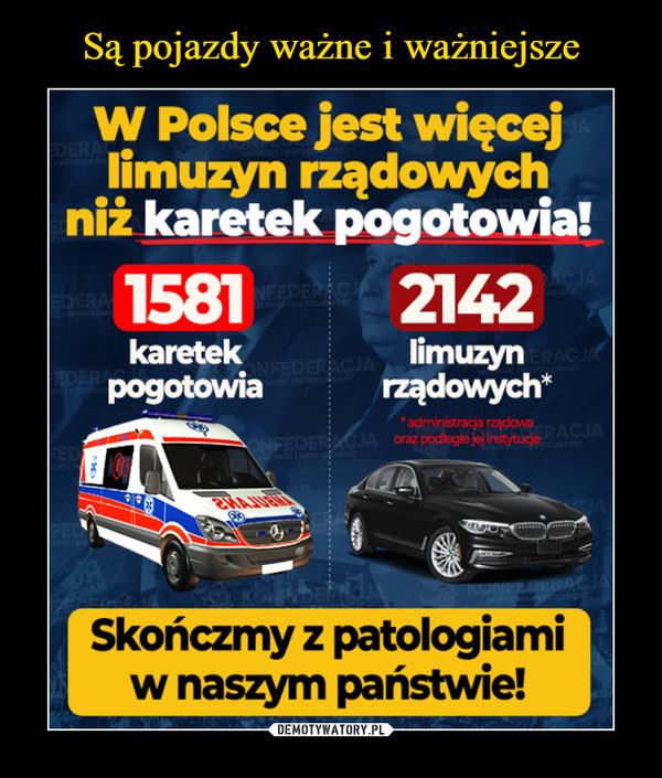 –  W Polsce jest więcejlimuzyn rządowychniż karetek pogotowia!55812142kareteklimuzynpogotowiarządowych** administracja rząd0/,aoraz gndległejej instytucje09Skońamy z patologiamiw naszym państwie!