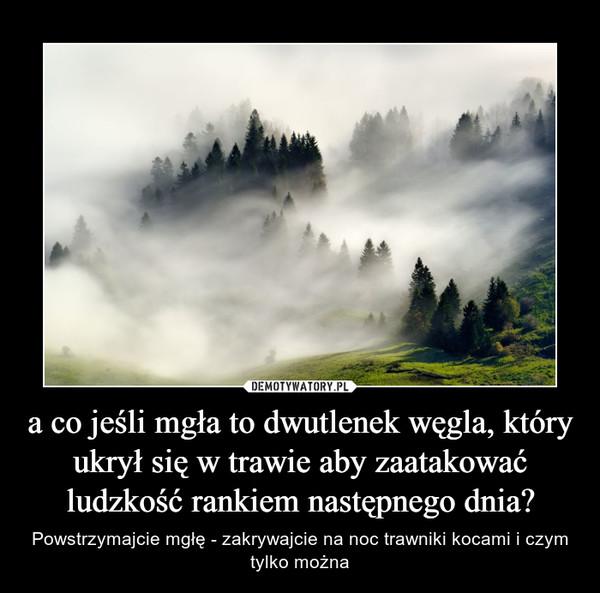 a co jeśli mgła to dwutlenek węgla, który ukrył się w trawie aby zaatakować ludzkość rankiem następnego dnia? – Powstrzymajcie mgłę - zakrywajcie na noc trawniki kocami i czym tylko można