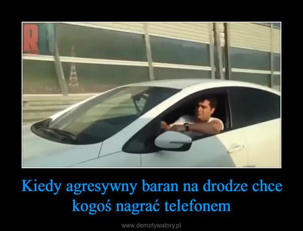 Kiedy agresywny baran na drodze chce kogoś nagrać telefonem –