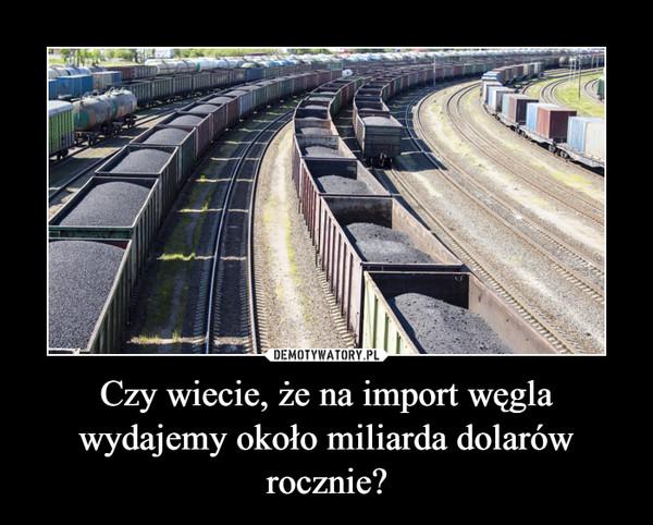 Czy wiecie, że na import węgla wydajemy około miliarda dolarów rocznie?