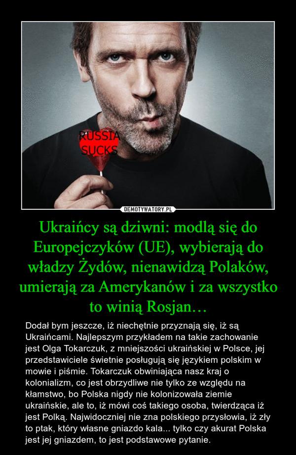 Ukraińcy są dziwni: modlą się do Europejczyków (UE), wybierają do władzy Żydów, nienawidzą Polaków, umierają za Amerykanów i za wszystko to winią Rosjan… – Dodał bym jeszcze, iż niechętnie przyznają się, iż są Ukraińcami. Najlepszym przykładem na takie zachowanie jest Olga Tokarczuk, z mniejszości ukraińskiej w Polsce, jej przedstawiciele świetnie posługują się językiem polskim w mowie i piśmie. Tokarczuk obwiniająca nasz kraj o kolonializm, co jest obrzydliwe nie tylko ze względu na kłamstwo, bo Polska nigdy nie kolonizowała ziemie ukraińskie, ale to, iż mówi coś takiego osoba, twierdząca iż jest Polką. Najwidoczniej nie zna polskiego przysłowia, iż zły to ptak, który własne gniazdo kala... tylko czy akurat Polska jest jej gniazdem, to jest podstawowe pytanie.