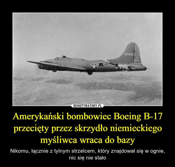 Amerykański bombowiec Boeing B-17 przecięty przez skrzydło niemieckiego myśliwca wraca do bazy – Nikomu, łącznie z tylnym strzelcem, który znajdował się w ognie, nic się nie stało