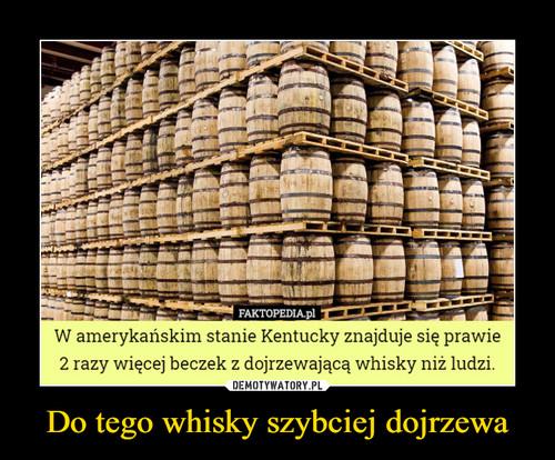 Do tego whisky szybciej dojrzewa
