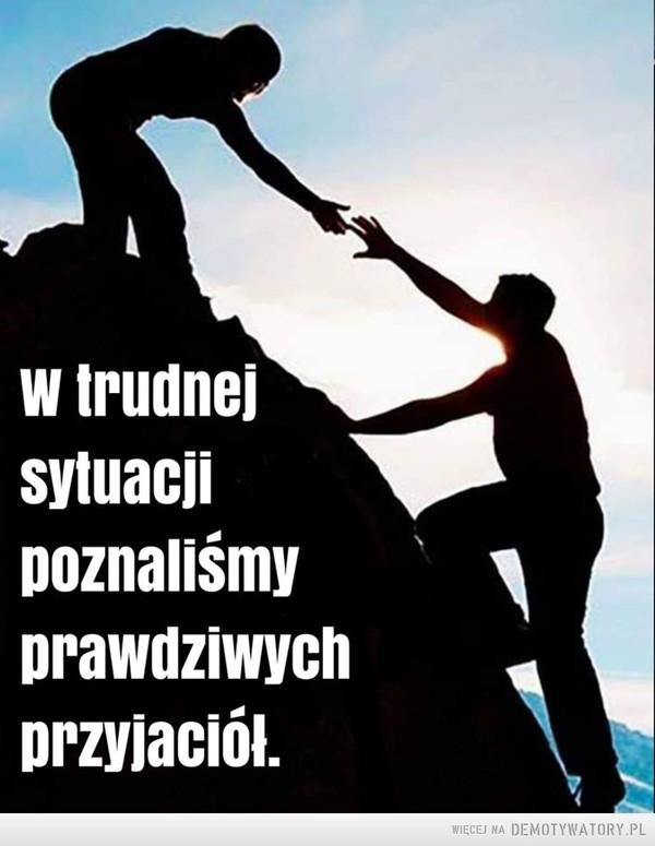 Przyjaźń –  W trudnej sytuacji poznaliśmy prawdziwych przyjaciół.