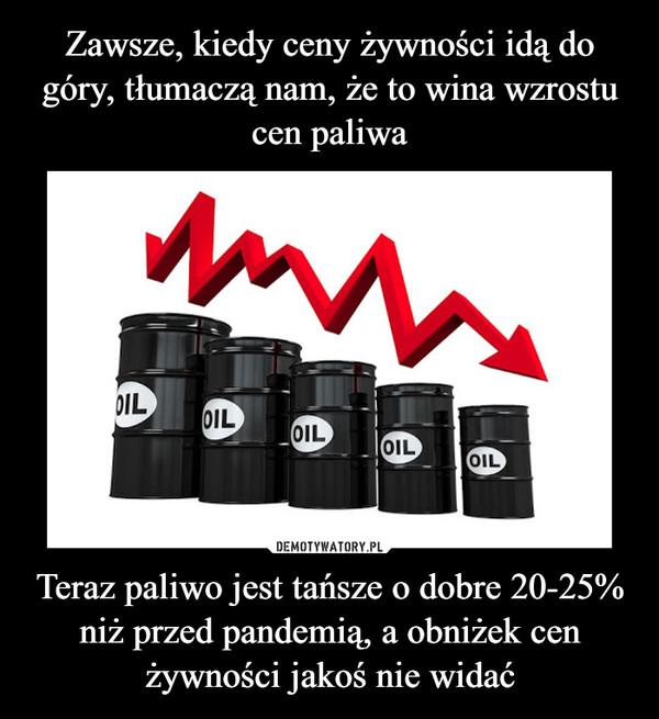 Teraz paliwo jest tańsze o dobre 20-25% niż przed pandemią, a obniżek cen żywności jakoś nie widać –