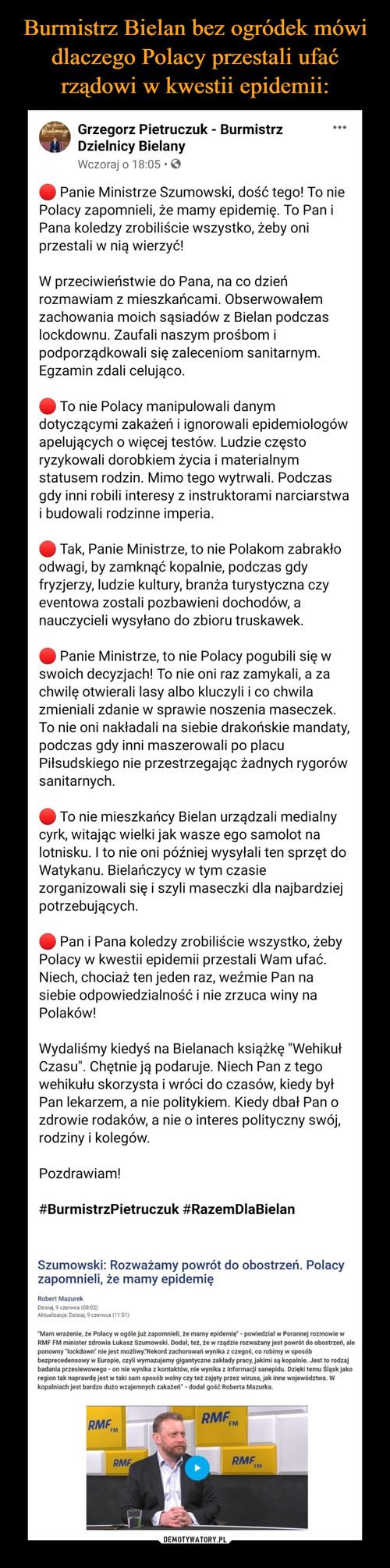 Burmistrz Bielan bez ogródek mówi dlaczego Polacy przestali ufać rządowi w kwestii epidemii: