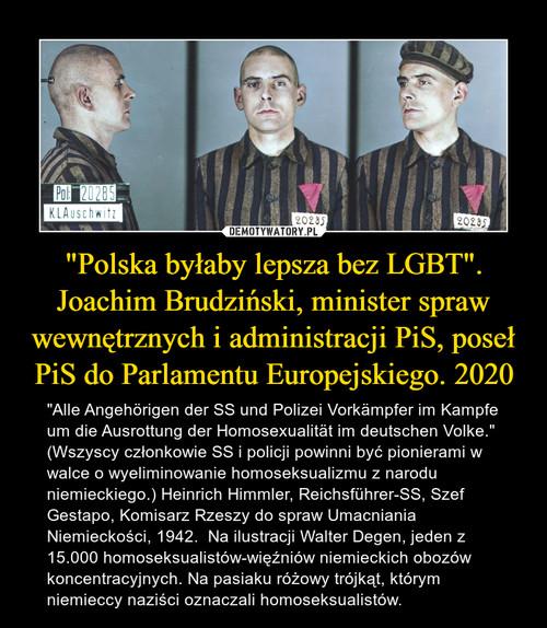 """""""Polska byłaby lepsza bez LGBT"""". Joachim Brudziński, minister spraw wewnętrznych i administracji PiS, poseł PiS do Parlamentu Europejskiego. 2020"""