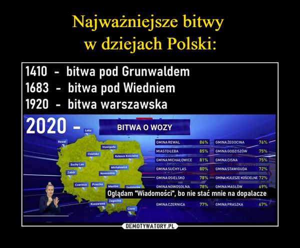 –  1410 Bitwa pod Grunwaldem 1683 bitwa pod Wiedniem 1920 bitwa Warszawska 2020 Bitwa o wozy Oglądam Wiadomości bo nie stać mnie na dopalacze