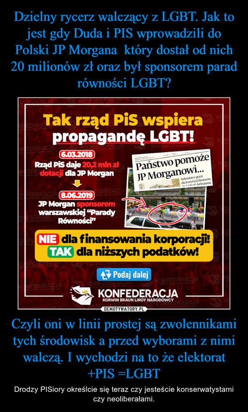 Dzielny rycerz walczący z LGBT. Jak to jest gdy Duda i PIS wprowadzili do Polski JP Morgana  który dostał od nich 20 milionów zł oraz był sponsorem parad równości LGBT? Czyli oni w linii prostej są zwolennikami tych środowisk a przed wyborami z nimi walczą. I wychodzi na to że elektorat +PIS =LGBT