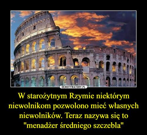 W starożytnym Rzymie niektórym niewolnikom pozwolono mieć własnych niewolników. Teraz nazywa się to ''menadżer średniego szczebla''