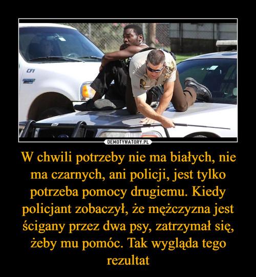 W chwili potrzeby nie ma białych, nie ma czarnych, ani policji, jest tylko potrzeba pomocy drugiemu. Kiedy policjant zobaczył, że mężczyzna jest ścigany przez dwa psy, zatrzymał się, żeby mu pomóc. Tak wygląda tego rezultat