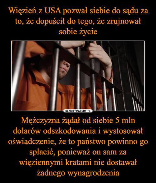 Więzień z USA pozwał siebie do sądu za to, że dopuścił do tego, że zrujnował sobie życie Mężczyzna żądał od siebie 5 mln dolarów odszkodowania i wystosował oświadczenie, że to państwo powinno go spłacić, ponieważ on sam za więziennymi kratami nie dostawał żadnego wynagrodzenia