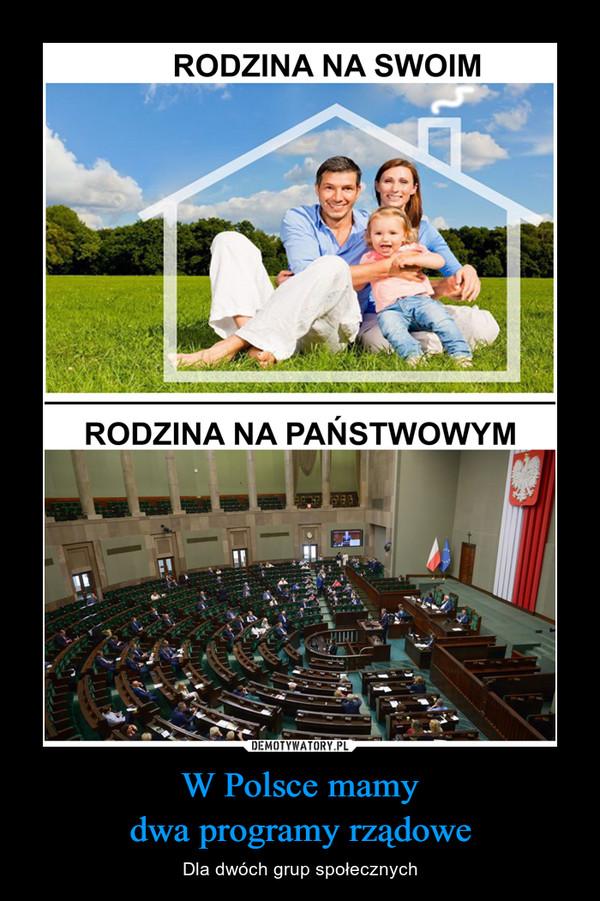 W Polsce mamy dwa programy rządowe