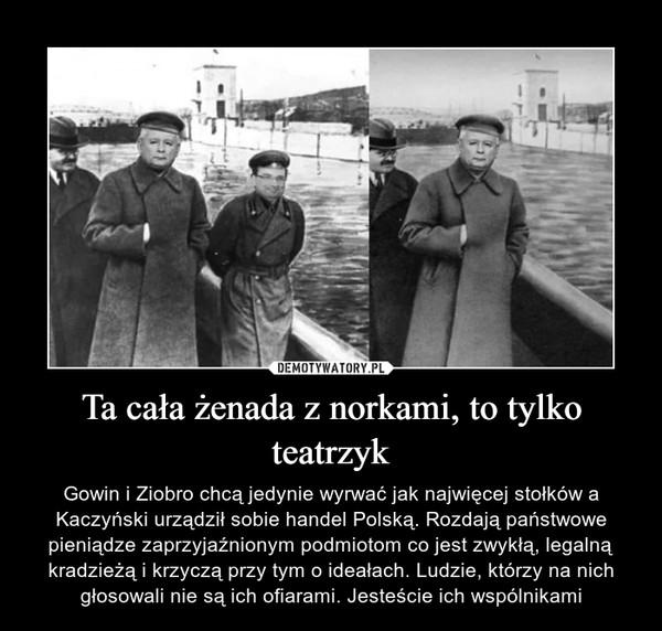 Ta cała żenada z norkami, to tylko teatrzyk – Gowin i Ziobro chcą jedynie wyrwać jak najwięcej stołków a Kaczyński urządził sobie handel Polską. Rozdają państwowe pieniądze zaprzyjaźnionym podmiotom co jest zwykłą, legalną kradzieżą i krzyczą przy tym o ideałach. Ludzie, którzy na nich głosowali nie są ich ofiarami. Jesteście ich wspólnikami