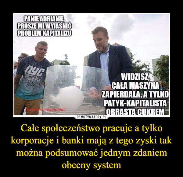 Całe społeczeństwo pracuje a tylko korporacje i banki mają z tego zyski tak można podsumować jednym zdaniem obecny system –
