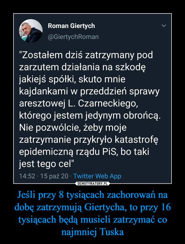 """Jeśli przy 8 tysiącach zachorowań na dobę zatrzymują Giertycha, to przy 16 tysiącach będą musieli zatrzymać co najmniej Tuska –  """"Zostałem dziś zatrzymany pod zarzutem działania na szkodę jakiejś spółki, skuto mnie kajdankami w przeddzień sprawy aresztowej Leszka Czarneckiego, którego jestem jedynym obrońcą. Nie pozwólcie, żeby moje zatrzymanie przykryło katastrofę epidemiczną rządu PiS, bo taki jest tego cel"""" Oświadczenie mec. Romana Giertycha podyktowane współpracownikowi"""
