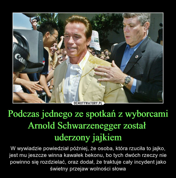Podczas jednego ze spotkań z wyborcami Arnold Schwarzenegger został uderzony jajkiem – W wywiadzie powiedział później, że osoba, która rzuciła to jajko, jest mu jeszcze winna kawałek bekonu, bo tych dwóch rzeczy nie powinno się rozdzielać, oraz dodał, że traktuje cały incydent jako świetny przejaw wolności słowa