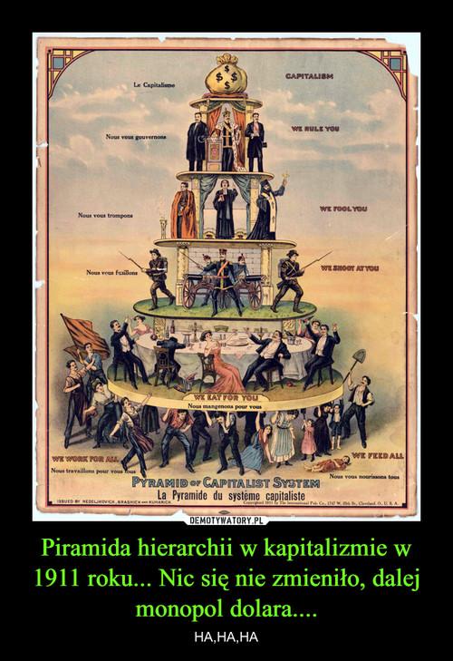 Piramida hierarchii w kapitalizmie w 1911 roku... Nic się nie zmieniło, dalej monopol dolara....