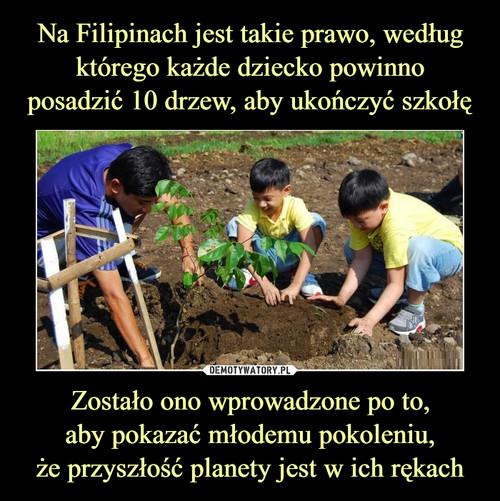 Na Filipinach jest takie prawo, według którego każde dziecko powinno posadzić 10 drzew, aby ukończyć szkołę Zostało ono wprowadzone po to, aby pokazać młodemu pokoleniu, że przyszłość planety jest w ich rękach