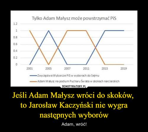 Jeśli Adam Małysz wróci do skoków,  to Jarosław Kaczyński nie wygra następnych wyborów