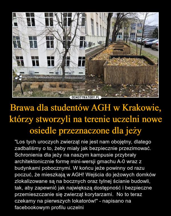 """Brawa dla studentów AGH w Krakowie, którzy stworzyli na terenie uczelni nowe osiedle przeznaczone dla jeży – """"Los tych uroczych zwierząt nie jest nam obojętny, dlatego zadbaliśmy o to, żeby miały jak bezpiecznie przezimować. Schronienia dla jeży na naszym kampusie przybrały architektonicznie formę mini-wersji gmachu A-0 wraz z budynkami pobocznymi. W końcu jeże powinny od razu poczuć, że mieszkają w AGH! Wejścia do jeżowych domków zlokalizowane są na bocznych oraz tylnej ścianie budowli, tak, aby zapewnić jak największą dostępność i bezpieczne przemieszczanie się zwierząt korytarzami.  No to teraz czekamy na pierwszych lokatorów!"""" - napisano na facebookowym profilu uczelni"""