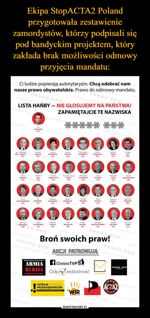 Ekipa StopACTA2 Poland przygotowała zestawienie zamordystów, którzy podpisali się pod bandyckim projektem, który zakłada brak możliwości odmowy przyjęcia mandatu: