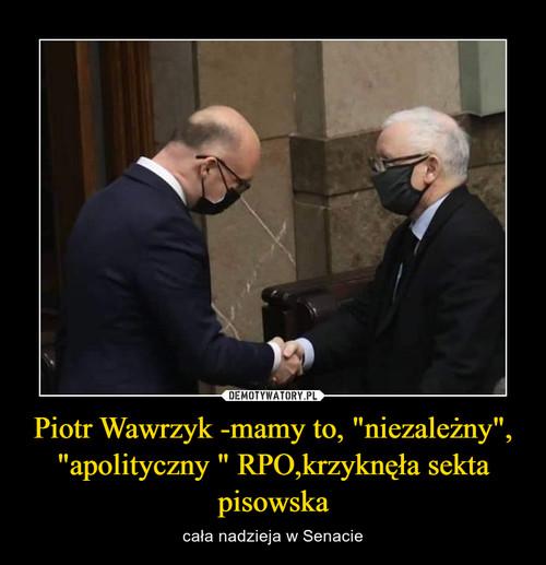 """Piotr Wawrzyk -mamy to, """"niezależny"""", """"apolityczny """" RPO,krzyknęła sekta pisowska"""