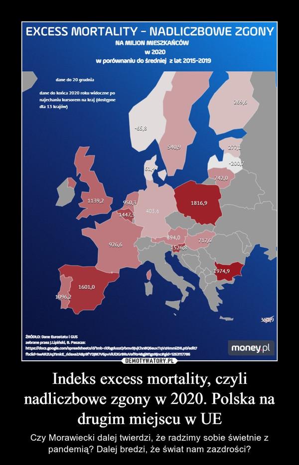 Indeks excess mortality, czyli nadliczbowe zgony w 2020. Polska na drugim miejscu w UE – Czy Morawiecki dalej twierdzi, że radzimy sobie świetnie z pandemią? Dalej bredzi, że świat nam zazdrości?