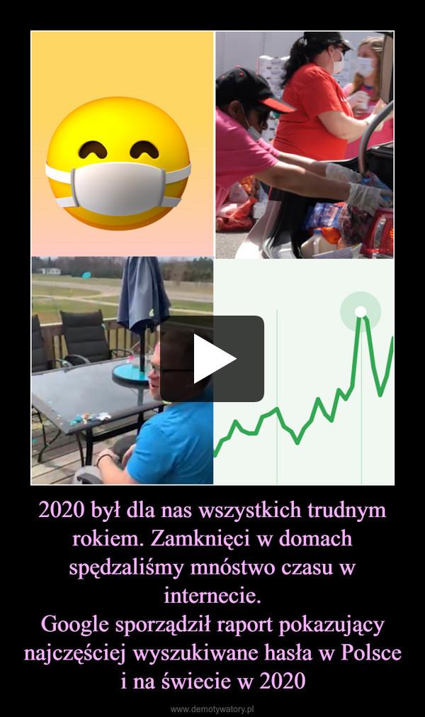 2020 był dla nas wszystkich trudnym rokiem. Zamknięci w domach spędzaliśmy mnóstwo czasu w internecie.Google sporządził raport pokazujący najczęściej wyszukiwane hasła w Polsce i na świecie w 2020 –