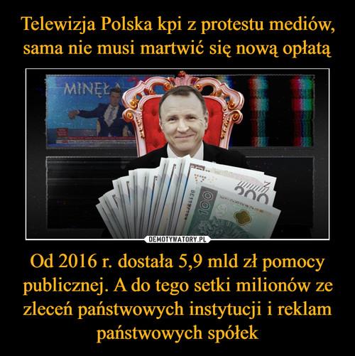 Telewizja Polska kpi z protestu mediów, sama nie musi martwić się nową opłatą Od 2016 r. dostała 5,9 mld zł pomocy publicznej. A do tego setki milionów ze zleceń państwowych instytucji i reklam państwowych spółek