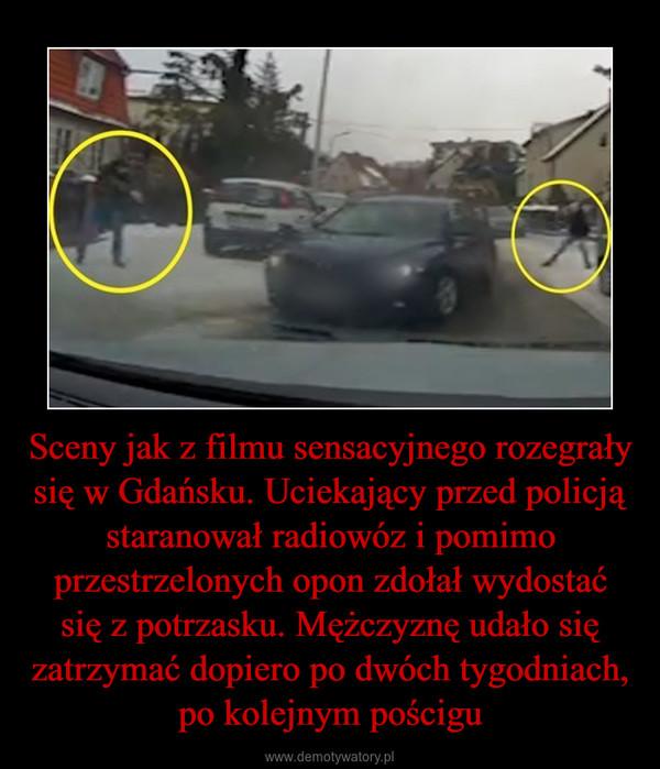 Sceny jak z filmu sensacyjnego rozegrały się w Gdańsku. Uciekający przed policją staranował radiowóz i pomimo przestrzelonych opon zdołał wydostać się z potrzasku. Mężczyznę udało się zatrzymać dopiero po dwóch tygodniach, po kolejnym pościgu –
