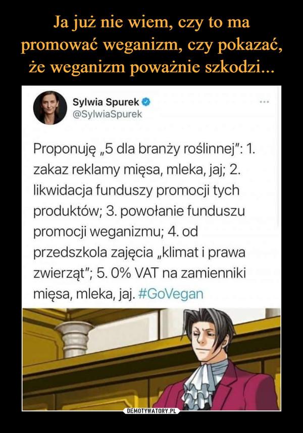"""–  Sylwia SpurekO@SylwiaSpurekProponuję """"5 dla branży roślinnej"""": 1.zakaz reklamy mięsa, mleka, jaj; 2.likwidacja funduszy promocji tychproduktów; 3. powołanie funduszupromocji weganizmu; 4. odprzedszkola zajęcia """"klimat i prawazwierząt""""; 5.0% VAT na zamiennikimięsa, mleka, jaj. #GoVegan"""
