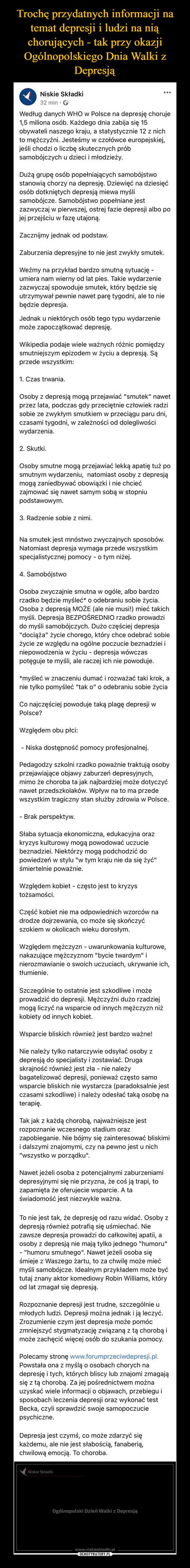 Trochę przydatnych informacji na temat depresji i ludzi na nią chorujących - tak przy okazji Ogólnopolskiego Dnia Walki z Depresją