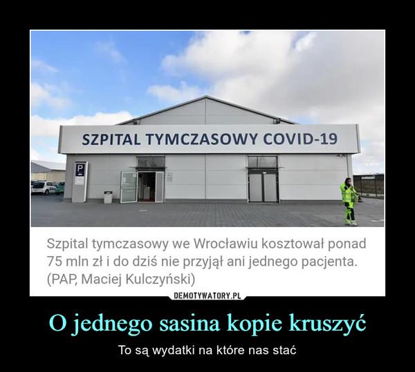 O jednego sasina kopie kruszyć – To są wydatki na które nas stać Szpital tymczasowy we Wrocławiu kosztował ponad 75 mln zł i do dziś nie przyjął ani jednego pacjenta. (PAP, Maciej Kulczyński)