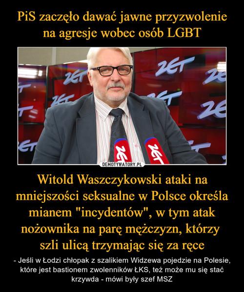 """PiS zaczęło dawać jawne przyzwolenie na agresje wobec osób LGBT Witold Waszczykowski ataki na mniejszości seksualne w Polsce określa mianem """"incydentów"""", w tym atak nożownika na parę mężczyzn, którzy  szli ulicą trzymając się za ręce"""