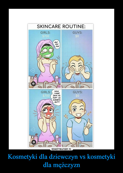 Kosmetyki dla dziewczyn vs kosmetyki dla mężczyzn