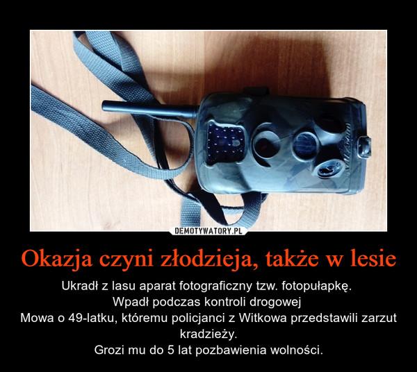 Okazja czyni złodzieja, także w lesie – Ukradł z lasu aparat fotograficzny tzw. fotopułapkę. Wpadł podczas kontroli drogowej Mowa o 49-latku, któremu policjanci z Witkowa przedstawili zarzut kradzieży.Grozi mu do 5 lat pozbawienia wolności.