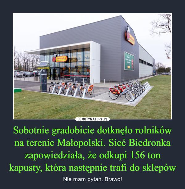 Sobotnie gradobicie dotknęło rolników na terenie Małopolski. Sieć Biedronka zapowiedziała, że odkupi 156 ton kapusty, która następnie trafi do sklepów – Nie mam pytań. Brawo!