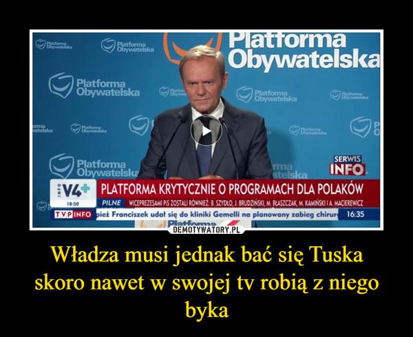 Władza musi jednak bać się Tuska skoro nawet w swojej tv robią z niego byka