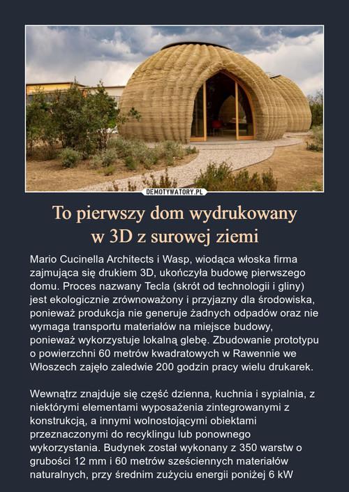 To pierwszy dom wydrukowany w 3D z surowej ziemi