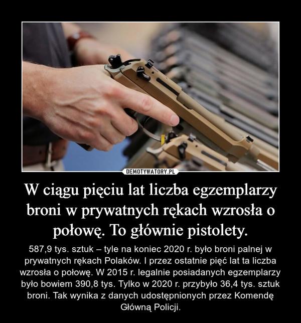 W ciągu pięciu lat liczba egzemplarzy broni w prywatnych rękach wzrosła o połowę. To głównie pistolety. – 587,9 tys. sztuk – tyle na koniec 2020 r. było broni palnej w prywatnych rękach Polaków. I przez ostatnie pięć lat ta liczba wzrosła o połowę. W 2015 r. legalnie posiadanych egzemplarzy było bowiem 390,8 tys. Tylko w 2020 r. przybyło 36,4 tys. sztuk broni. Tak wynika z danych udostępnionych przez Komendę Główną Policji.