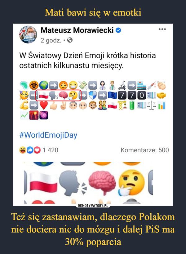 Też się zastanawiam, dlaczego Polakom nie dociera nic do mózgu i dalej PiS ma 30% poparcia –  C Mateusz Morawiecki2 godz. • 0W Światowy Dzień Emoji krótka historiaostatnich kilkunastu miesięcy.