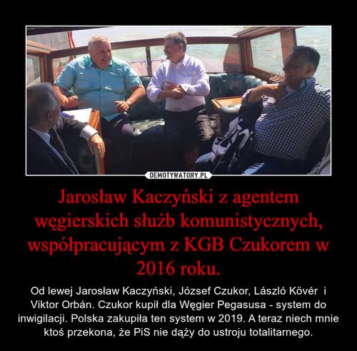 Jarosław Kaczyński z agentem węgierskich służb komunistycznych, współpracującym z KGB Czukorem w 2016 roku.