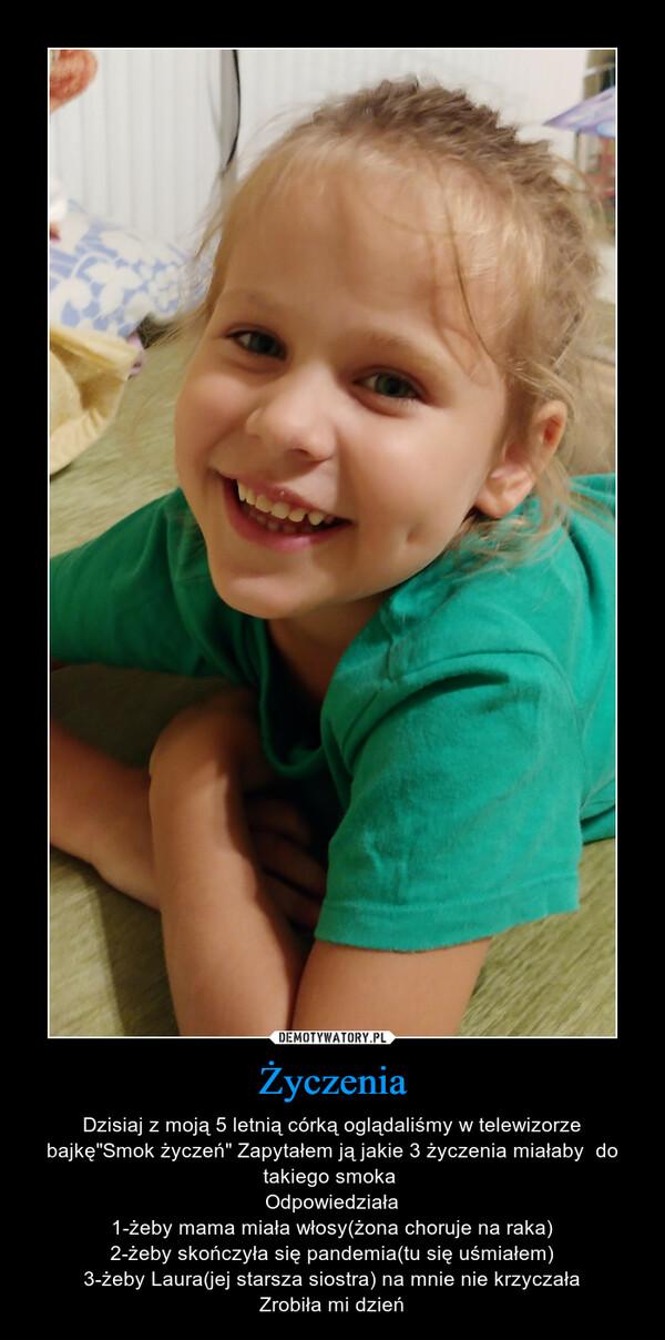 """Życzenia – Dzisiaj z moją 5 letnią córką oglądaliśmy w telewizorze bajkę""""Smok życzeń"""" Zapytałem ją jakie 3 życzenia miałaby  do takiego smoka Odpowiedziała1-żeby mama miała włosy(żona choruje na raka)2-żeby skończyła się pandemia(tu się uśmiałem)3-żeby Laura(jej starsza siostra) na mnie nie krzyczałaZrobiła mi dzień"""