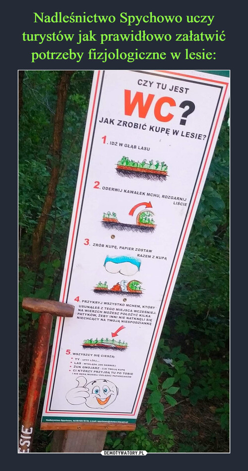 Nadleśnictwo Spychowo uczy turystów jak prawidłowo załatwić potrzeby fizjologiczne w lesie: