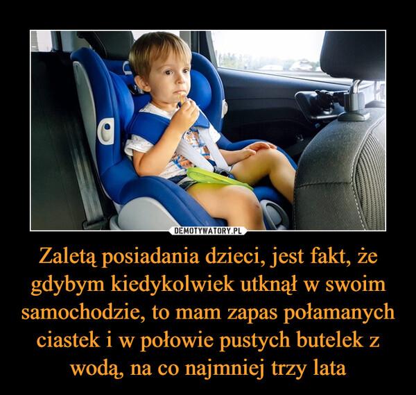 Zaletą posiadania dzieci, jest fakt, że gdybym kiedykolwiek utknął w swoim samochodzie, to mam zapas połamanych ciastek i w połowie pustych butelek z wodą, na co najmniej trzy lata –