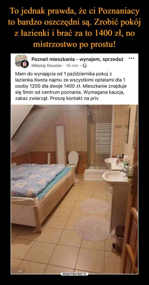 To jednak prawda, że ci Poznaniacy to bardzo oszczędni są. Zrobić pokój z łazienki i brać za to 1400 zł, no mistrzostwo po prostu!