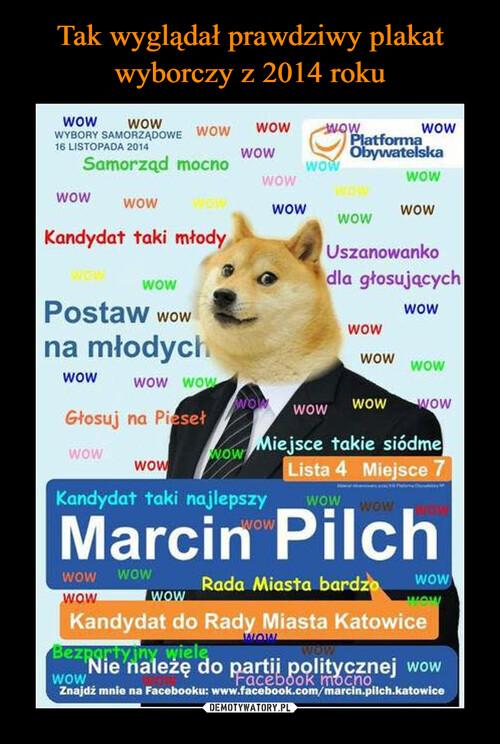 Tak wyglądał prawdziwy plakat wyborczy z 2014 roku